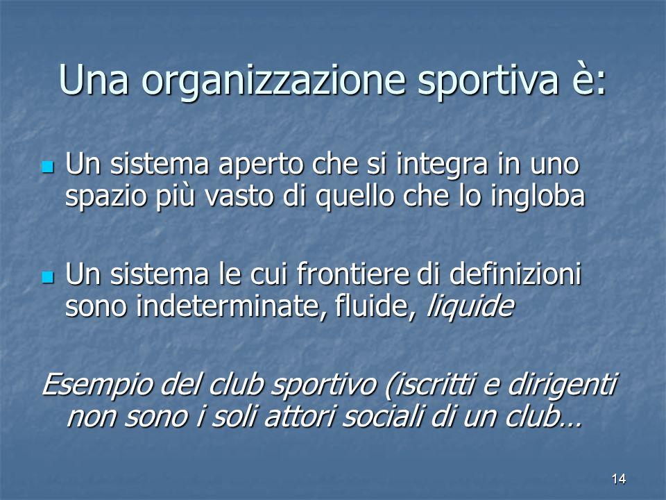 Una organizzazione sportiva è: