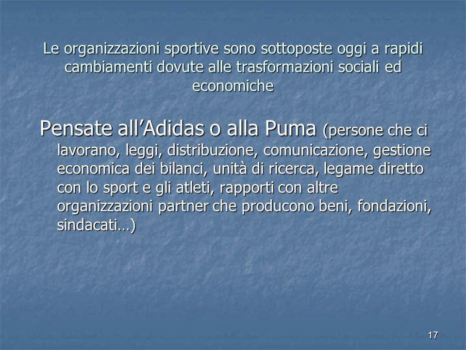 Le organizzazioni sportive sono sottoposte oggi a rapidi cambiamenti dovute alle trasformazioni sociali ed economiche