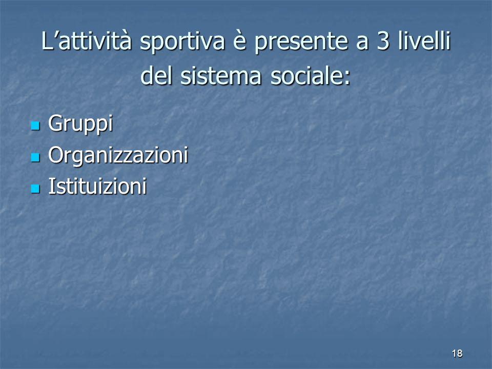 L'attività sportiva è presente a 3 livelli del sistema sociale: