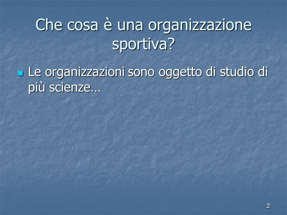Che cosa è una organizzazione sportiva