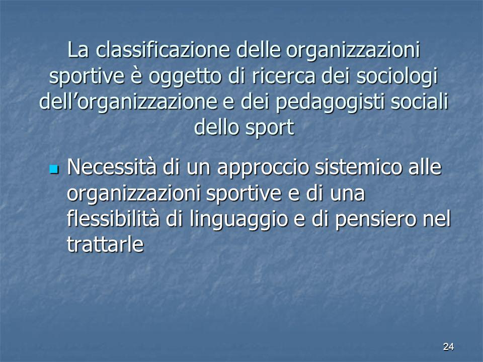 La classificazione delle organizzazioni sportive è oggetto di ricerca dei sociologi dell'organizzazione e dei pedagogisti sociali dello sport