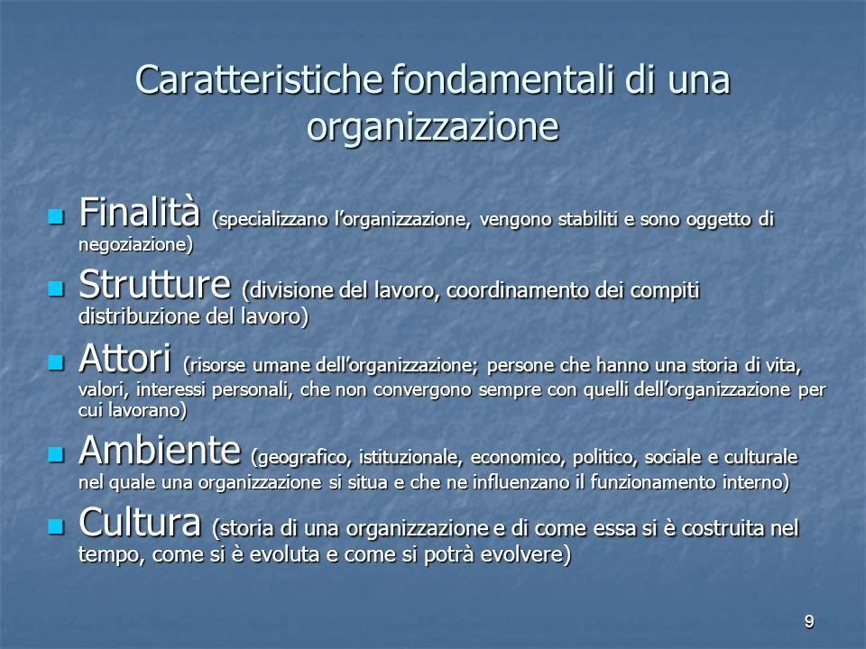 Caratteristiche fondamentali di una organizzazione