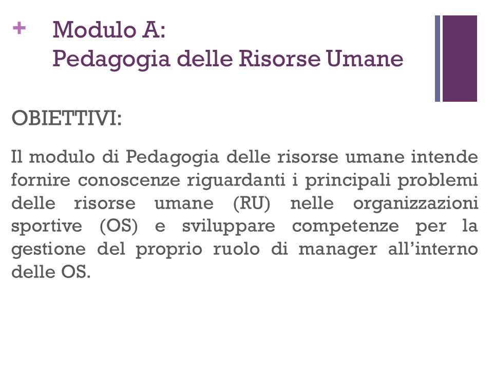 Modulo A: Pedagogia delle Risorse Umane