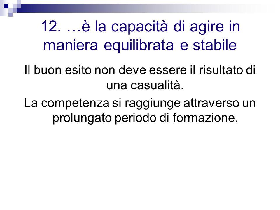 12. …è la capacità di agire in maniera equilibrata e stabile