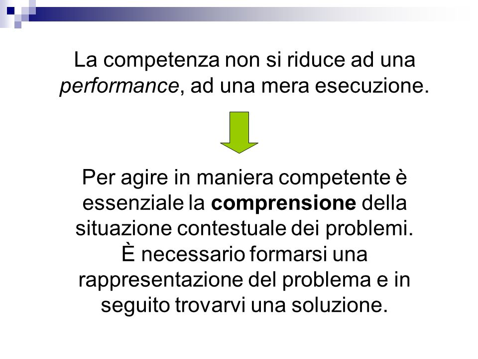 La competenza non si riduce ad una performance, ad una mera esecuzione.
