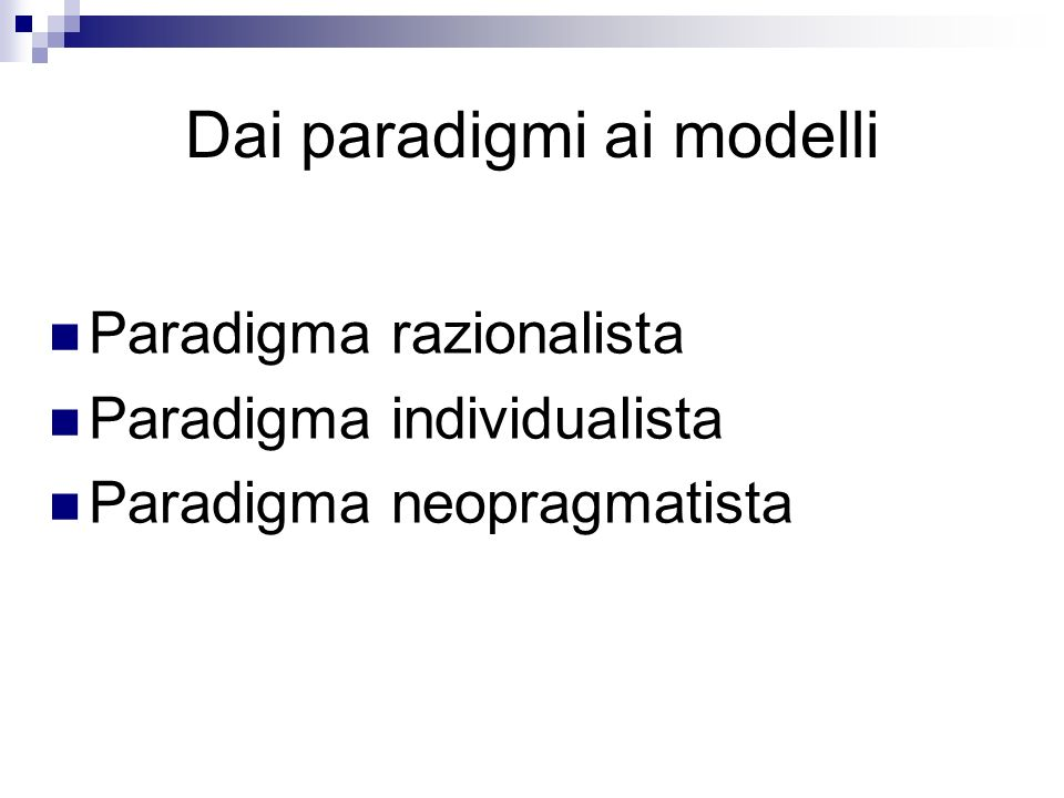 Dai paradigmi ai modelli