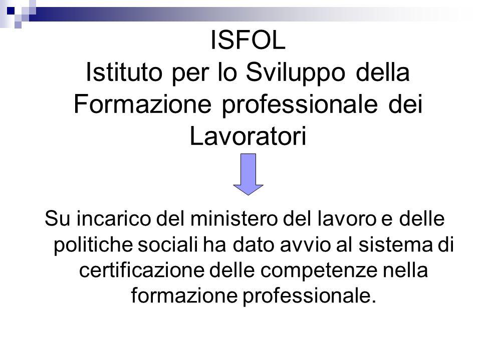 ISFOL Istituto per lo Sviluppo della Formazione professionale dei Lavoratori