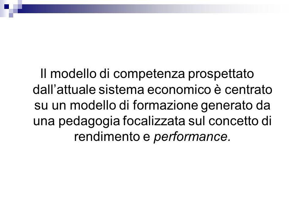 Il modello di competenza prospettato dall'attuale sistema economico è centrato su un modello di formazione generato da una pedagogia focalizzata sul concetto di rendimento e performance.