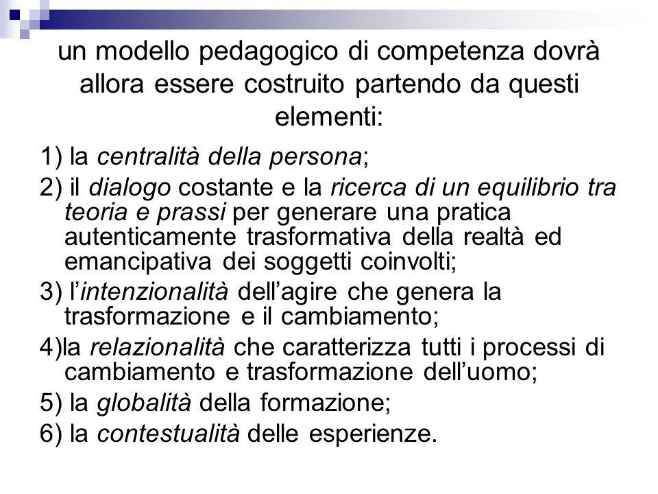 un modello pedagogico di competenza dovrà allora essere costruito partendo da questi elementi: