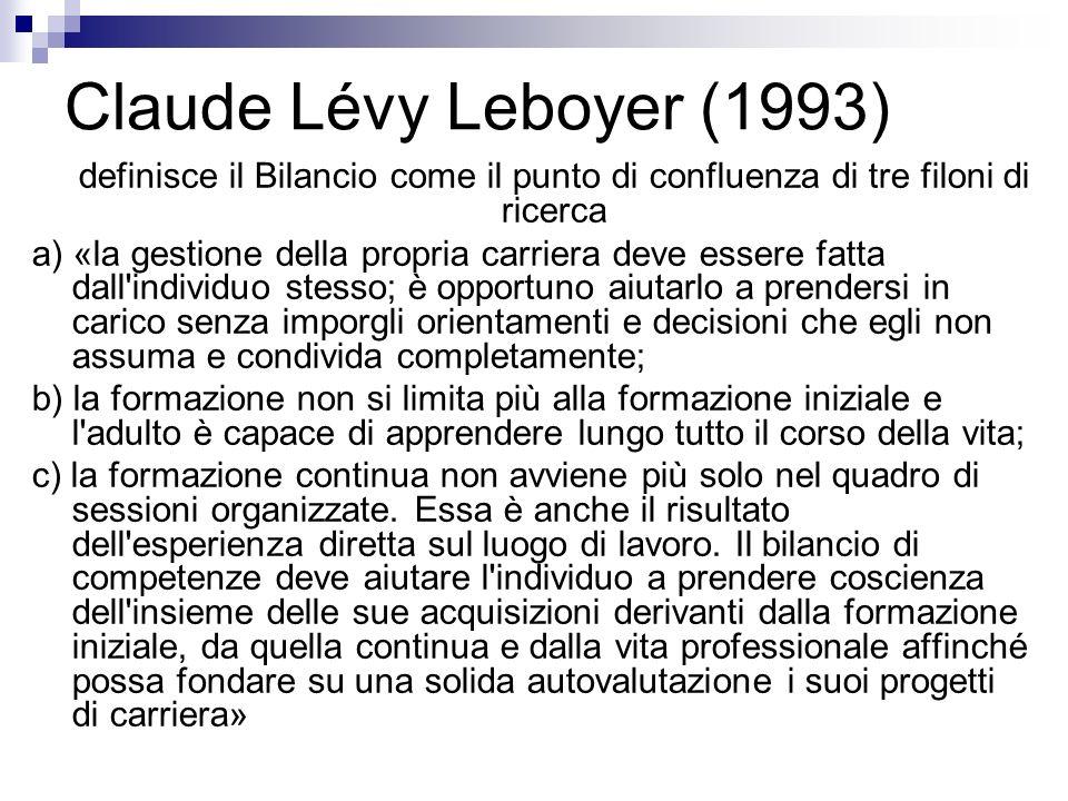 Claude Lévy Leboyer (1993) definisce il Bilancio come il punto di confluenza di tre filoni di ricerca.