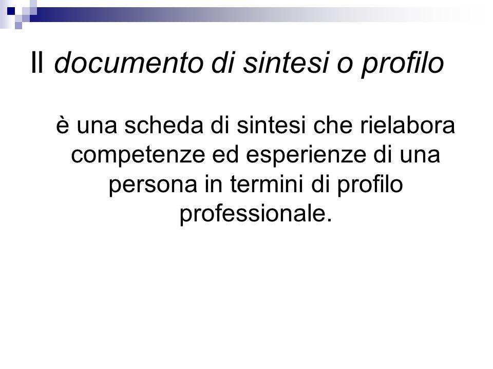 Il documento di sintesi o profilo