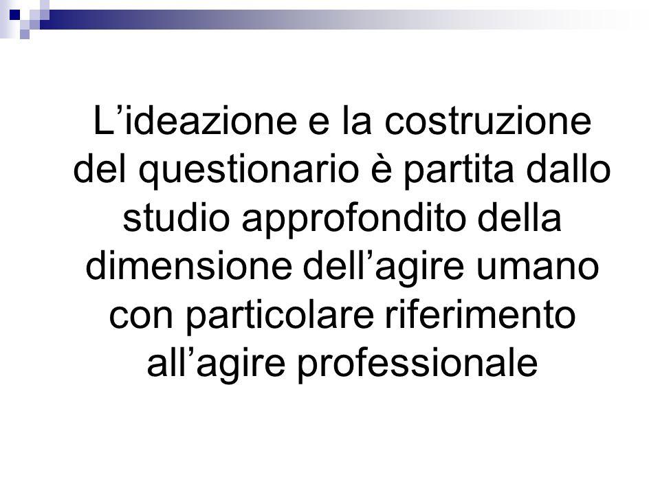 L'ideazione e la costruzione del questionario è partita dallo studio approfondito della dimensione dell'agire umano con particolare riferimento all'agire professionale
