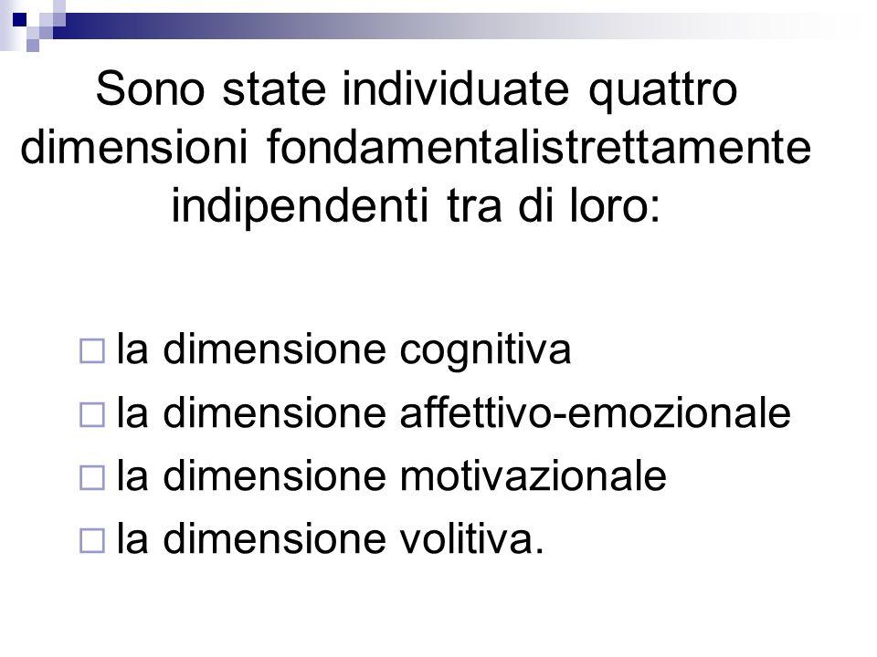 Sono state individuate quattro dimensioni fondamentalistrettamente indipendenti tra di loro: