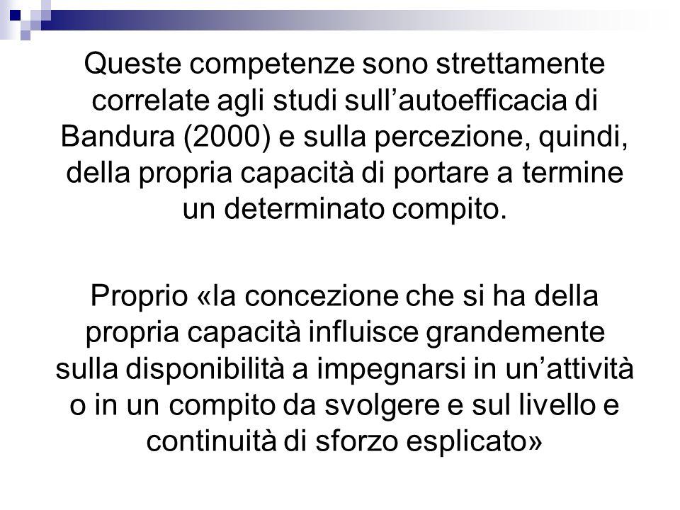 Queste competenze sono strettamente correlate agli studi sull'autoefficacia di Bandura (2000) e sulla percezione, quindi, della propria capacità di portare a termine un determinato compito.