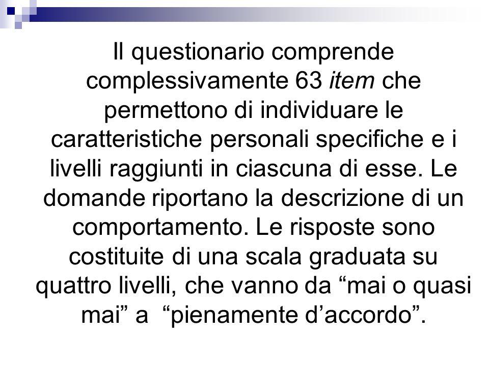 Il questionario comprende complessivamente 63 item che permettono di individuare le caratteristiche personali specifiche e i livelli raggiunti in ciascuna di esse.