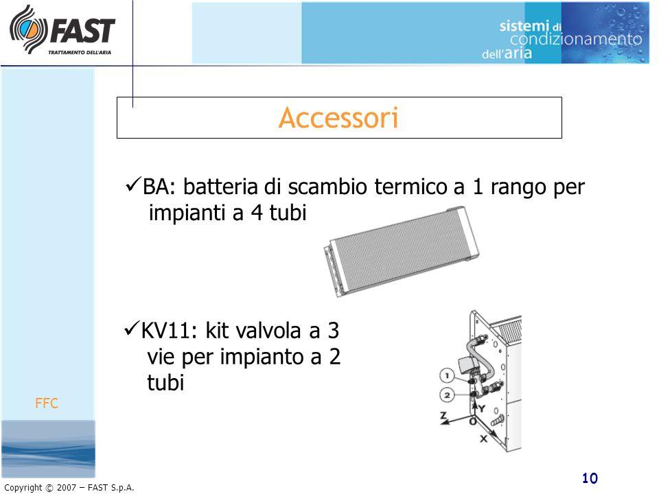 Accessori BA: batteria di scambio termico a 1 rango per impianti a 4 tubi. KV11: kit valvola a 3 vie per impianto a 2 tubi.