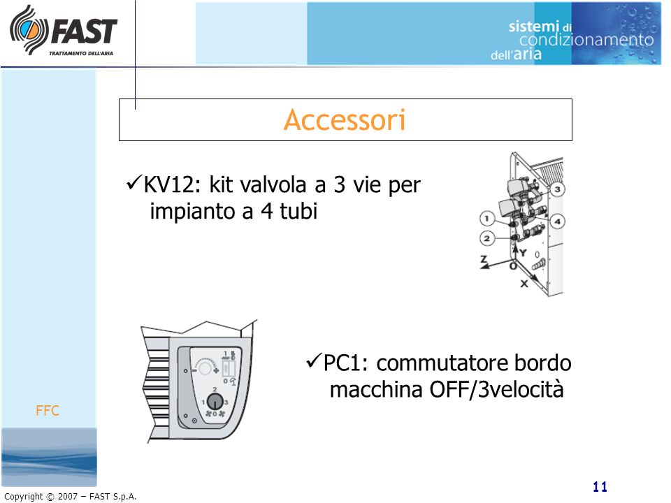 Accessori KV12: kit valvola a 3 vie per impianto a 4 tubi