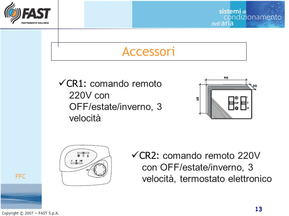 Accessori CR1: comando remoto 220V con OFF/estate/inverno, 3 velocità