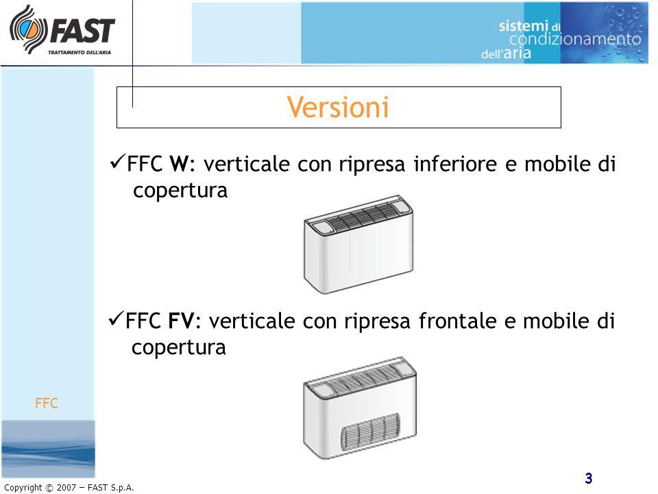 Versioni FFC W: verticale con ripresa inferiore e mobile di copertura