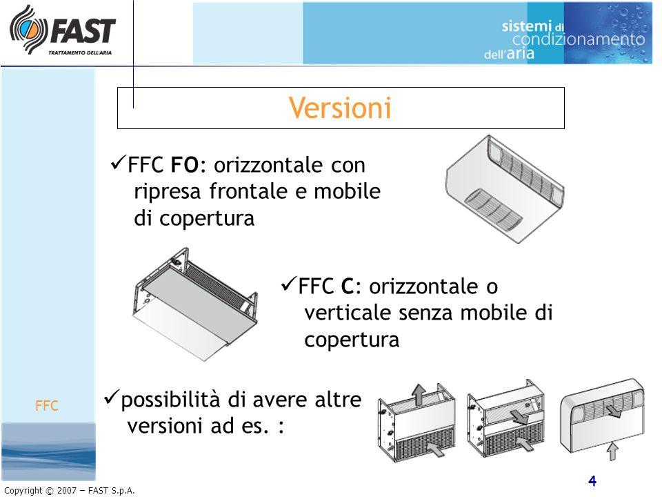 Versioni FFC FO: orizzontale con ripresa frontale e mobile di copertura. FFC C: orizzontale o verticale senza mobile di copertura.