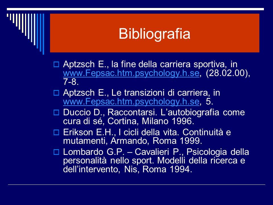 Bibliografia Aptzsch E., la fine della carriera sportiva, in www.Fepsac.htm.psychology.h.se, (28.02.00), 7-8.