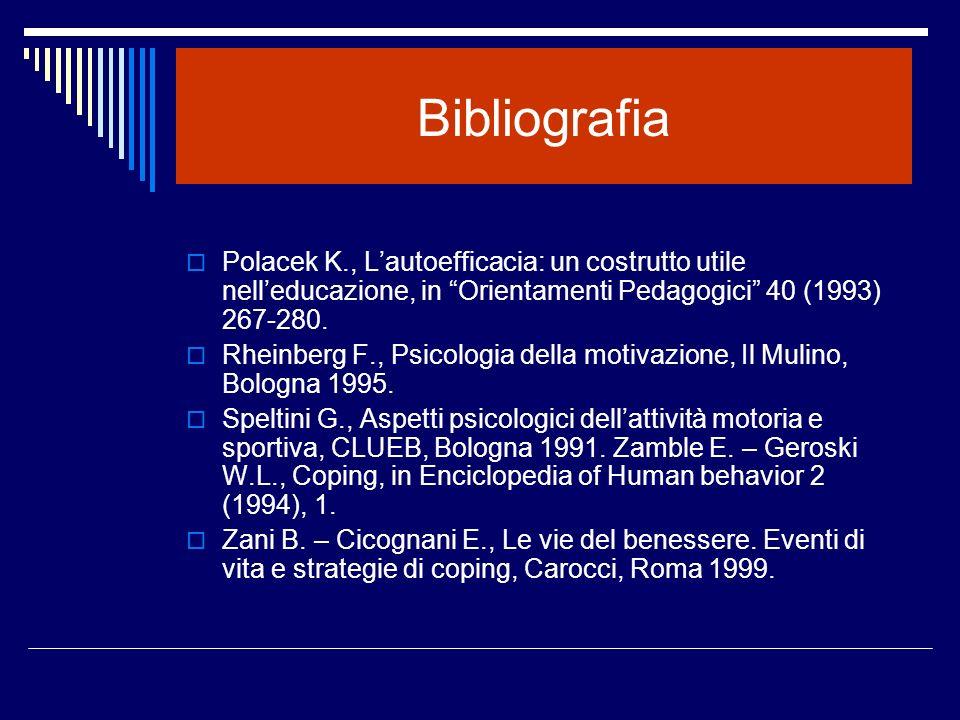 Bibliografia Polacek K., L'autoefficacia: un costrutto utile nell'educazione, in Orientamenti Pedagogici 40 (1993) 267-280.