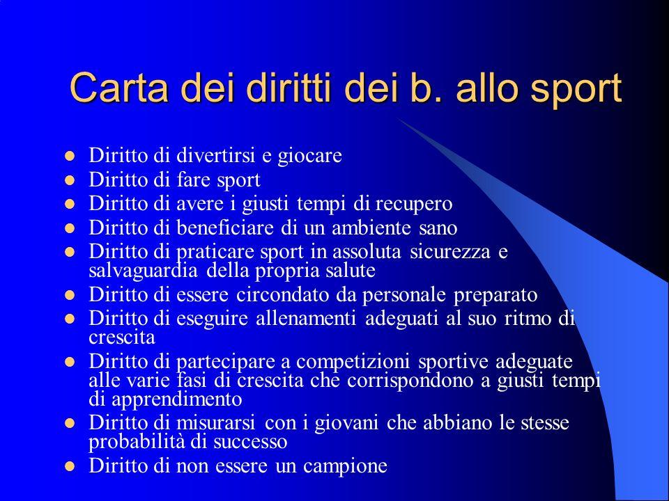 Carta dei diritti dei b. allo sport
