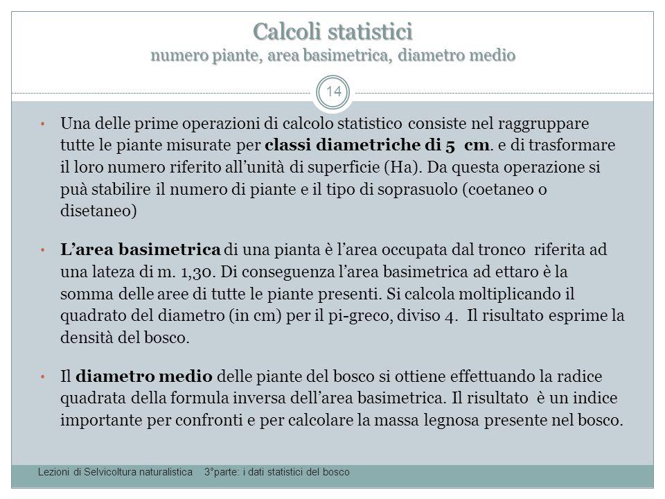 Calcoli statistici numero piante, area basimetrica, diametro medio