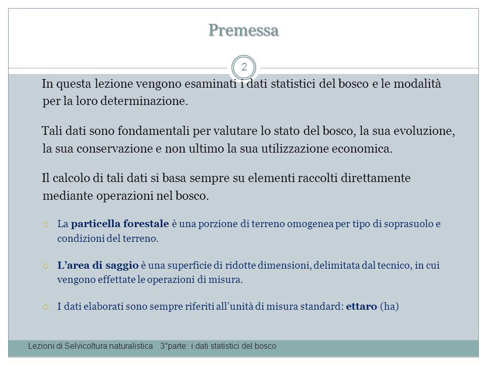 Premessa In questa lezione vengono esaminati i dati statistici del bosco e le modalità per la loro determinazione.