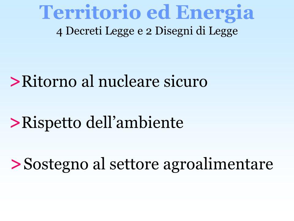 Territorio ed Energia 4 Decreti Legge e 2 Disegni di Legge