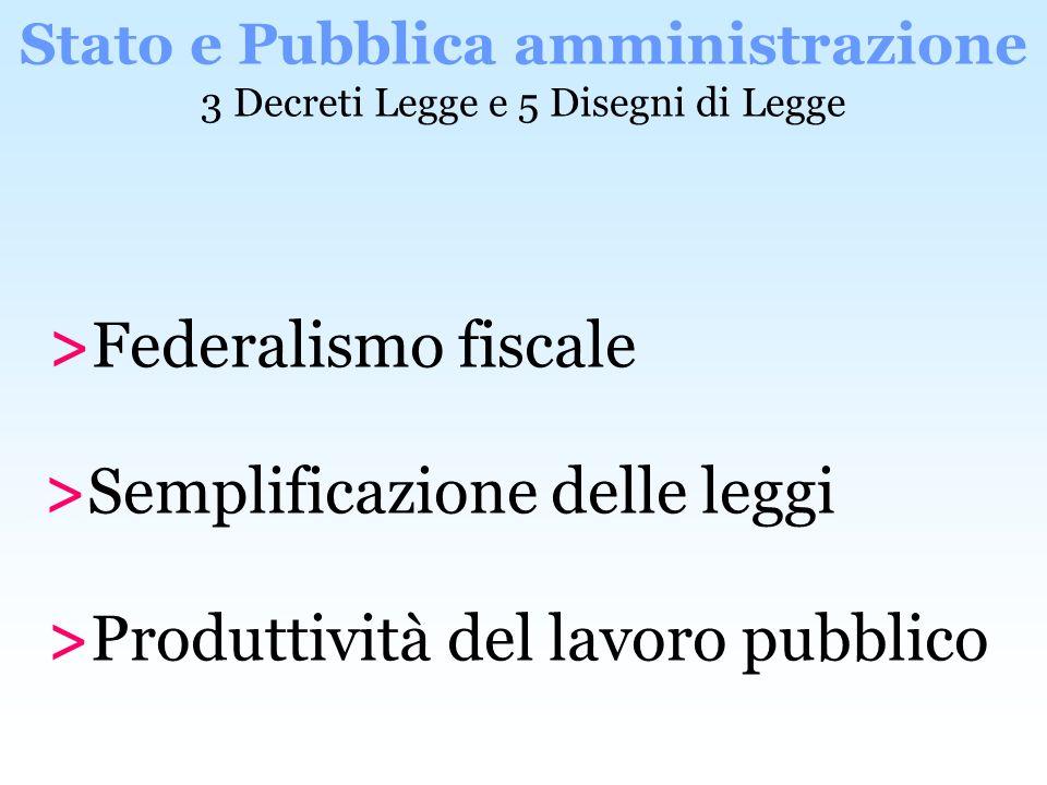 Stato e Pubblica amministrazione 3 Decreti Legge e 5 Disegni di Legge