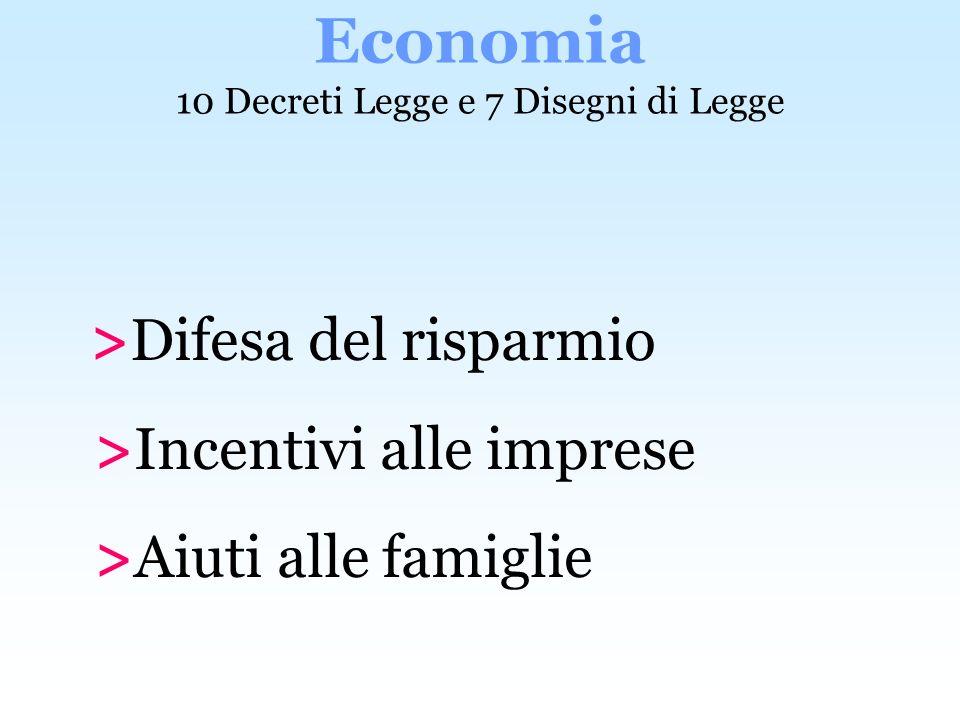 Economia 10 Decreti Legge e 7 Disegni di Legge