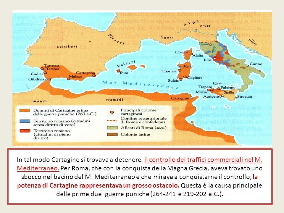In tal modo Cartagine si trovava a detenere il controllo dei traffici commerciali nel M.