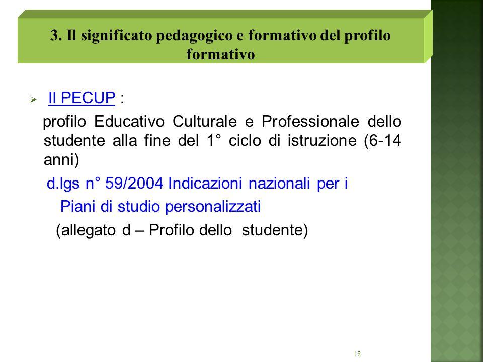3. Il significato pedagogico e formativo del profilo formativo
