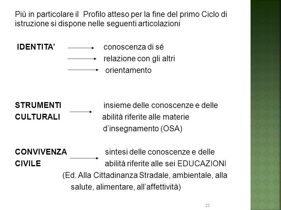 Più in particolare il Profilo atteso per la fine del primo Ciclo di istruzione si dispone nelle seguenti articolazioni