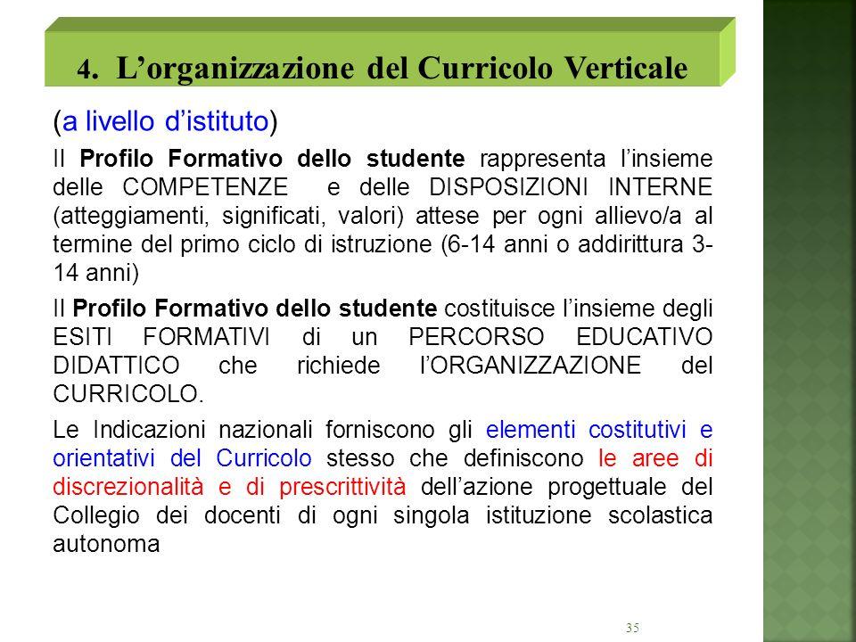 4. L'organizzazione del Curricolo Verticale