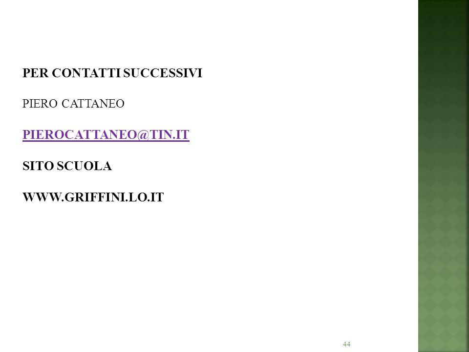 PER CONTATTI SUCCESSIVI PIERO CATTANEO PIEROCATTANEO@TIN
