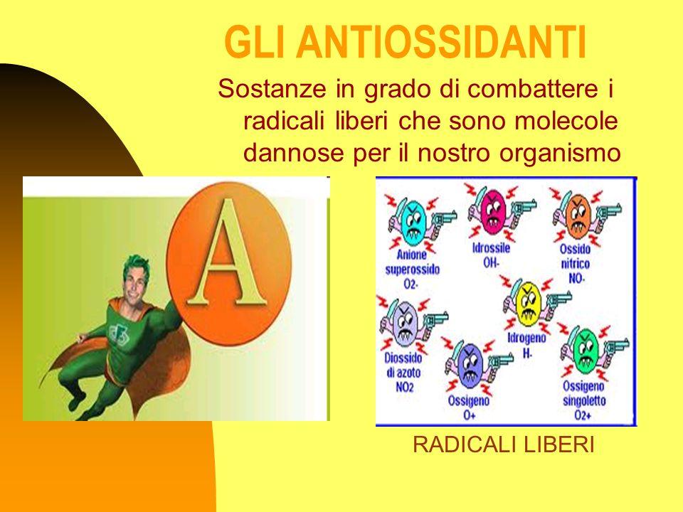GLI ANTIOSSIDANTI Sostanze in grado di combattere i radicali liberi che sono molecole dannose per il nostro organismo.