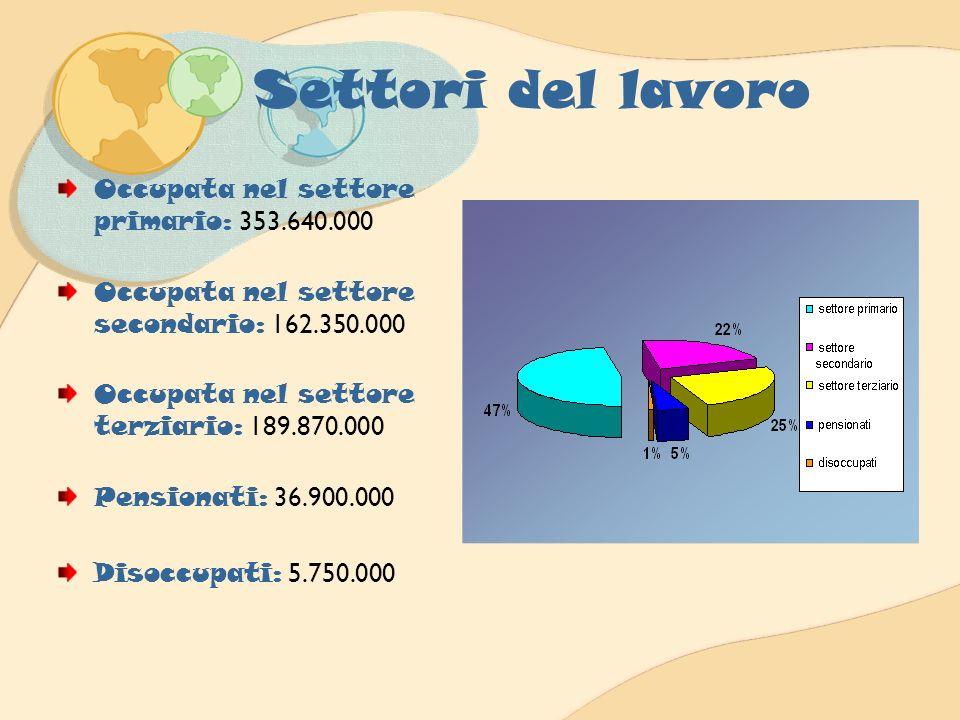 Settori del lavoro Occupata nel settore primario: 353.640.000