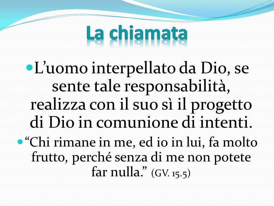 La chiamata L'uomo interpellato da Dio, se sente tale responsabilità, realizza con il suo sì il progetto di Dio in comunione di intenti.