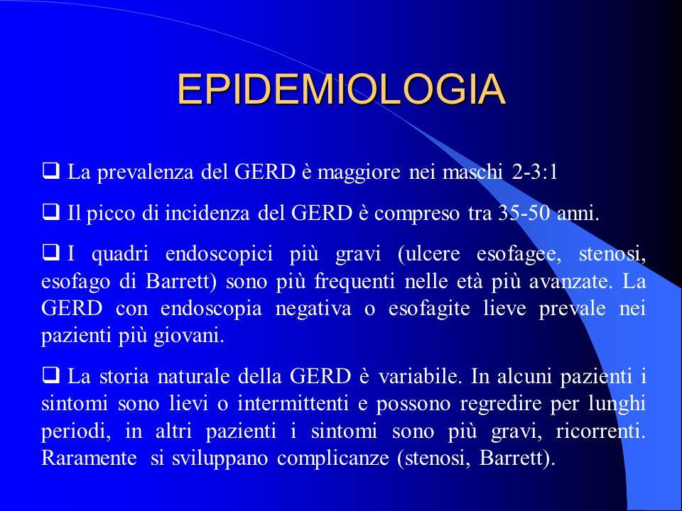 EPIDEMIOLOGIA La prevalenza del GERD è maggiore nei maschi 2-3:1