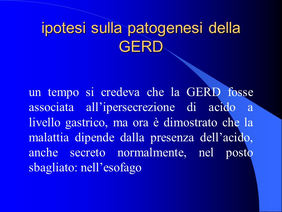 ipotesi sulla patogenesi della GERD