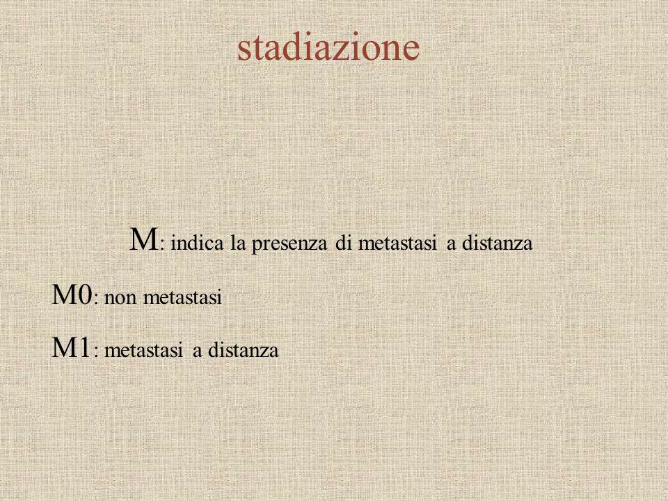 M: indica la presenza di metastasi a distanza