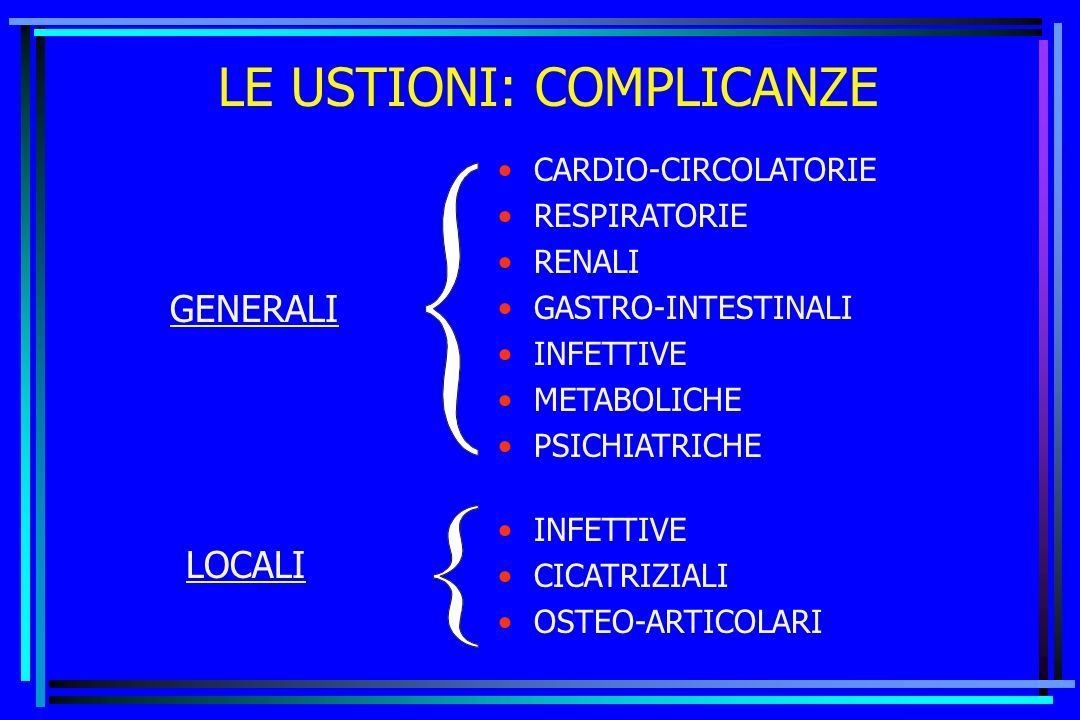 LE USTIONI: COMPLICANZE