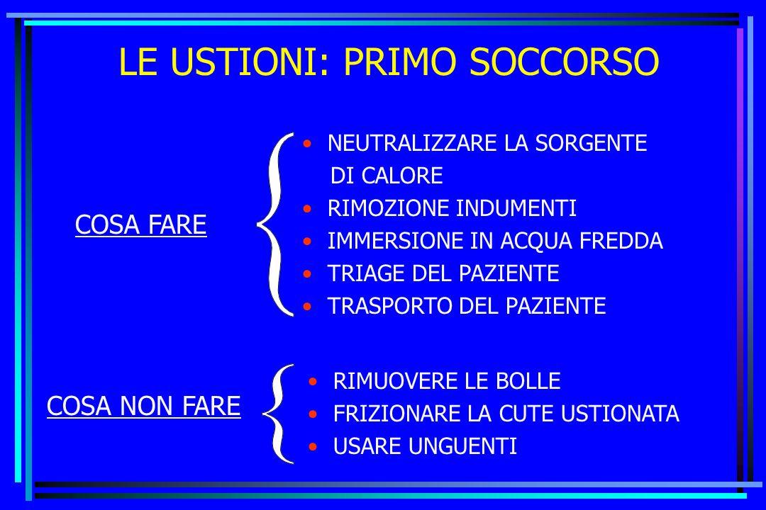 LE USTIONI: PRIMO SOCCORSO