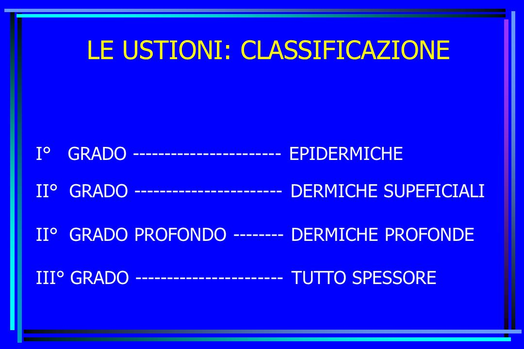 LE USTIONI: CLASSIFICAZIONE