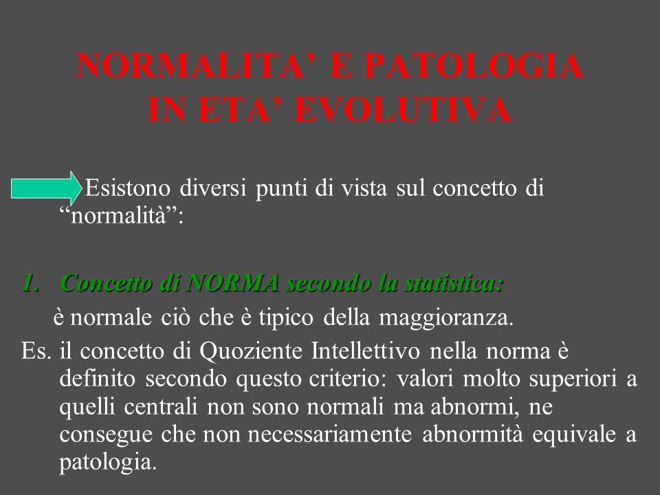 NORMALITA' E PATOLOGIA IN ETA' EVOLUTIVA