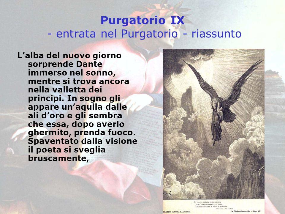 Purgatorio IX - entrata nel Purgatorio - riassunto