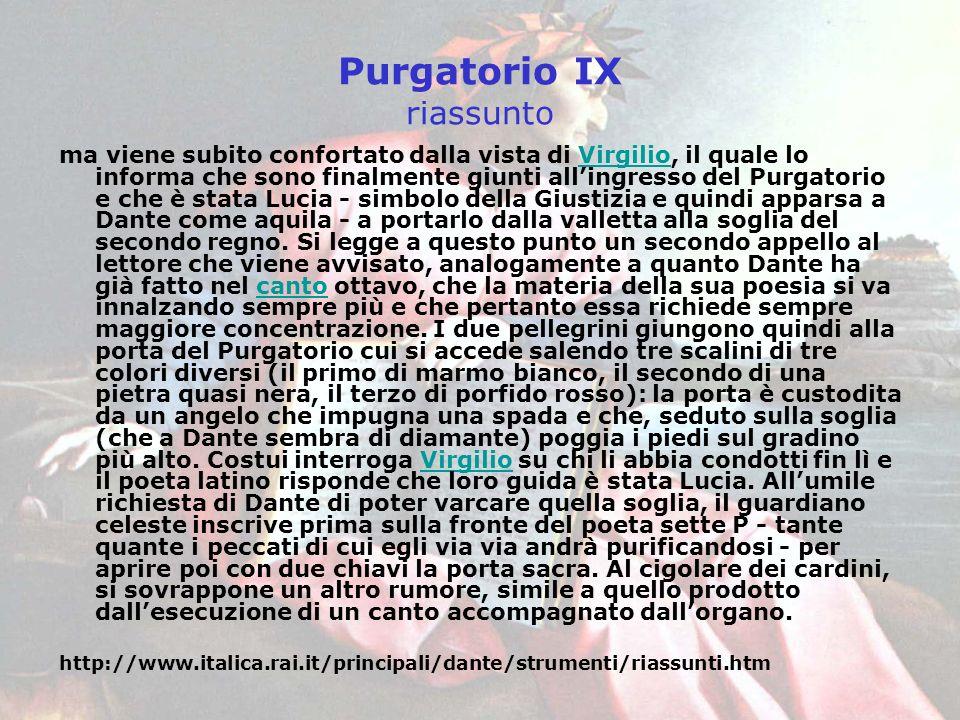 Purgatorio IX riassunto