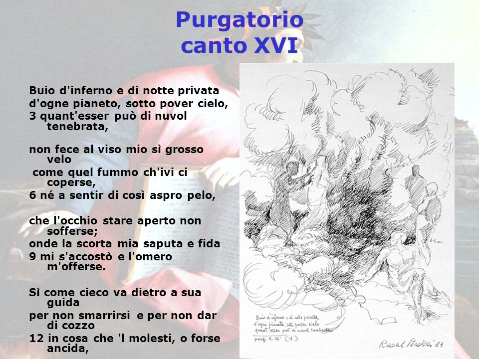 Purgatorio canto XVI Buio d inferno e di notte privata